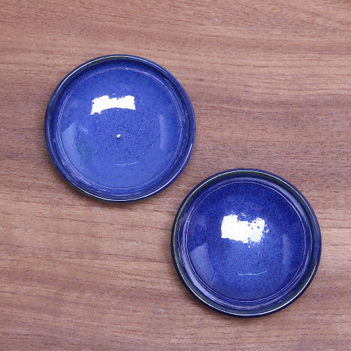 Pair of Blue Ceramic Condiment Dishes from Indonesia 'Bright Sky'