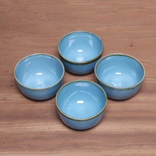 Set of Four Sky Blue Ceramic Bowls from Indonesia 'Blue Pools'