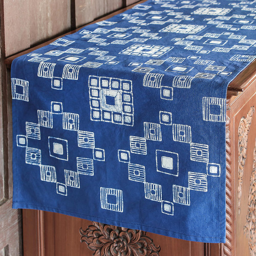 White and Dark Blue Geometric Cotton Batik Table Runner 'Embroidery Inspiration'