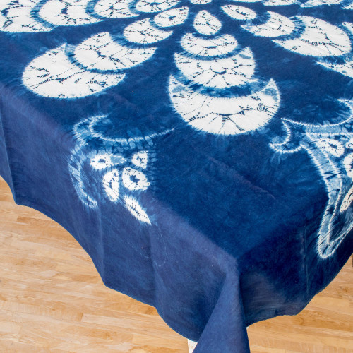 Floral Batik Cotton Table Cloth from El Salvador 'Flower of Paradise'
