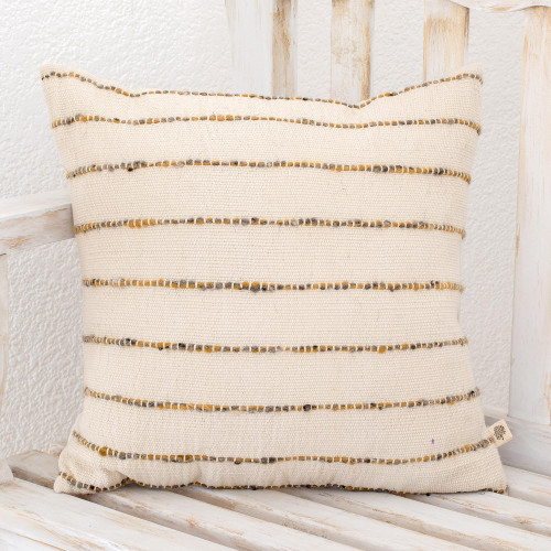 Striped Patterned Wool Cushion Cover in Ivory from Guatemala 'Momostenango Paths'