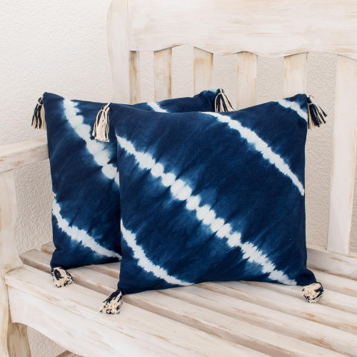 TieDyed Cotton Cushion Covers in Indigo Pair 'Along the Sea'