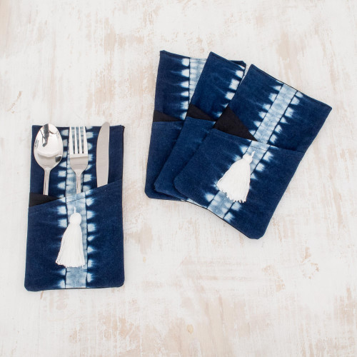 TieDyed Cotton Cutlery Holders in Indigo Set of 4 'Indigo Harmony'