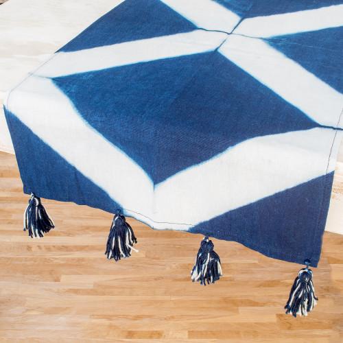 TieDyed Cotton Table Runner with Geometric Motifs 'Elegant Indigo'