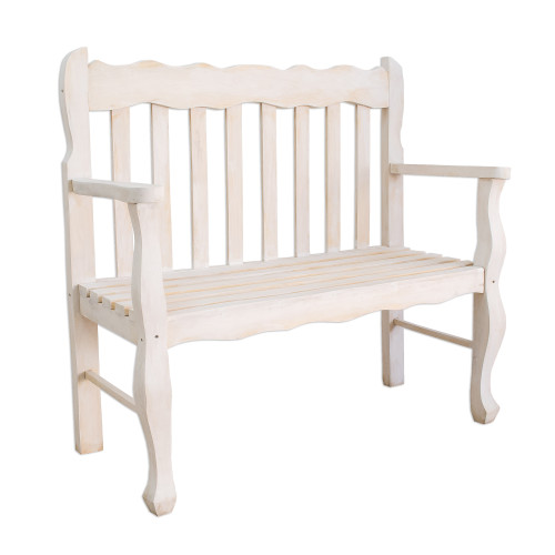 Distressed White Pinewood Bench Crafted in Guatemala 'Casual Relaxation'