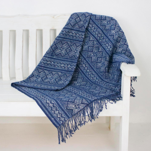 Geometric Batik Cotton Throw in Indigo from Thailand 'Batik Energy'
