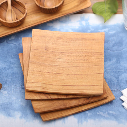 Handmade Square Teakwood Plates from Bali Set of 4 'Fine Meal'