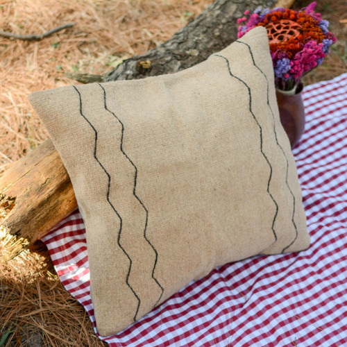 Handwoven Zapotec Wool Cushion Cover in Beige from Mexico 'Beige Zigzags'