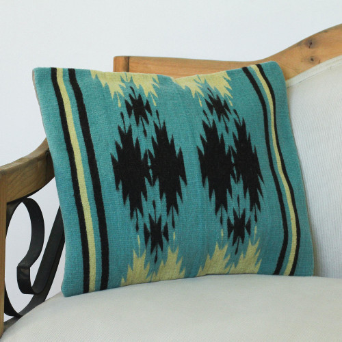 Handwoven Geometric Wool Cushion Cover in Sea Green 'Sea Green Geometry'