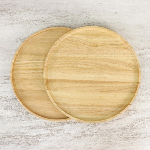 Handmade Rubberwood Plates from Thailand Pair 'Natural Rounds'