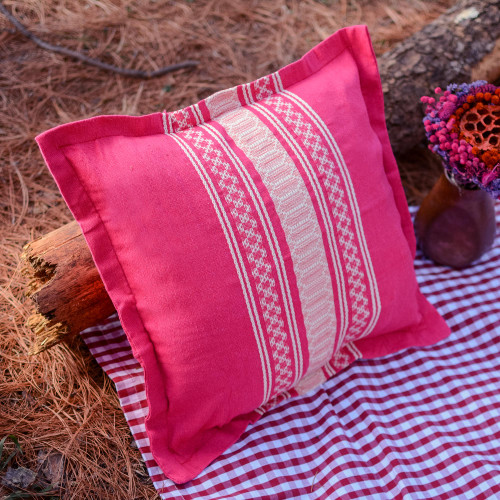 Handwoven Cotton Cushion Cover in Cerise from Mexico 'Sweet Cerise'