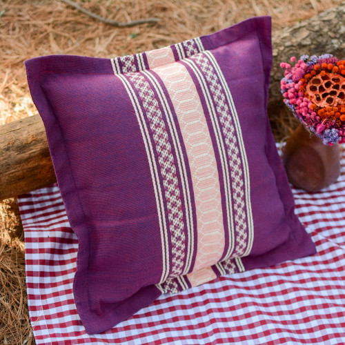 Handwoven Cotton Cushion Cover in Boysenberry from Mexico 'Delicious Boysenberry'