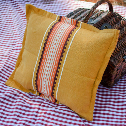 Handwoven Cotton Cushion Cover in Amber from Mexico 'Amber History'
