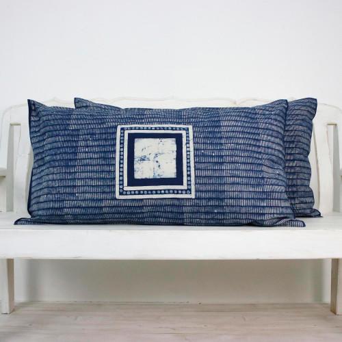 Batik Cotton Pillow Shams in Indigo and White Pair 'Indigo Holiday'