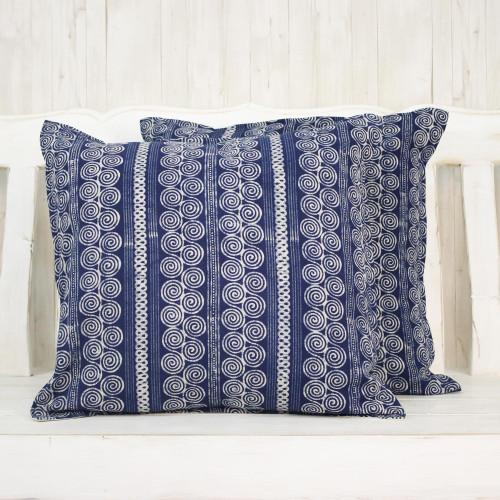 Batik Cotton Cushion Covers with Spiral Motifs Pair 'Indigo Cloud'