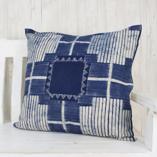 Batik Cotton Cushion Cover in Indigo from Thailand 'Exotic Energy'
