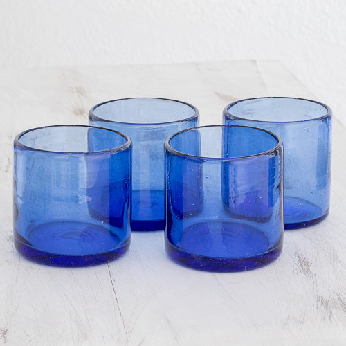 Recycled Glass Juice Glasses in Blue Set of 4 'Profound Blue'