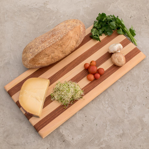 Striped Cypress and Chechen Wood Cutting Board 'Harmony Lines'