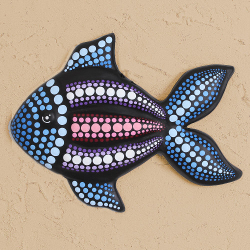 HandPainted Ceramic Fish Wall Art from Mexico 'Black Fish'