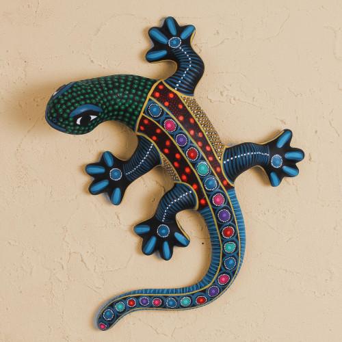 Colorful Ceramic Lizard Wall Art from Mexico 'Festive Lizard'