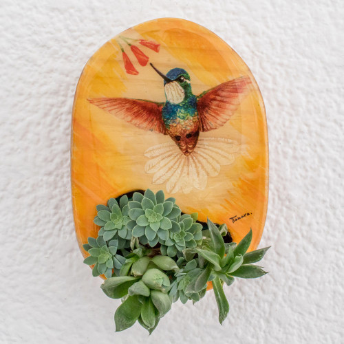 Hummingbird Hand Painted Yellow Pinewood Wall Planter 'Winged Freedom'