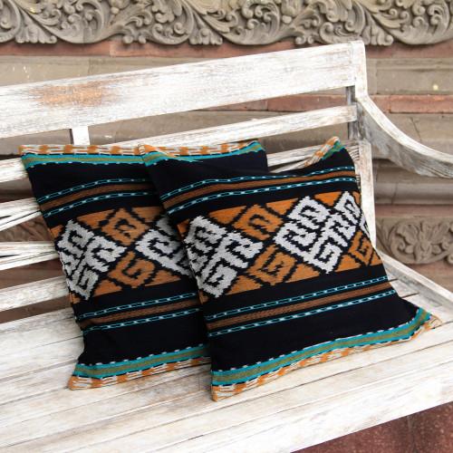 Ikat Geometric Cotton Cushion Covers from Java Pair 'Respati Wengi'