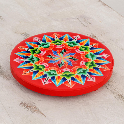 HandPainted Wood Trivet in Red from Costa Rica 'Traditional Colors in Red'
