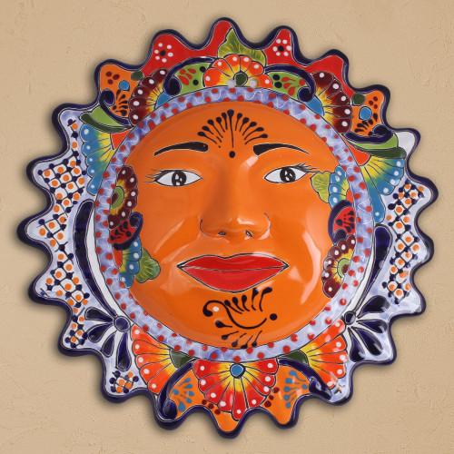 HandPainted Ceramic Sun Wall Sculpture from Mexico 'Luz del Sol'