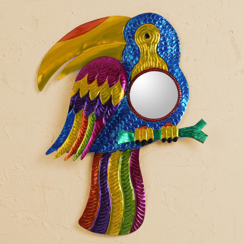 Colorful Toucan Tin Wall Mirror from Mexico 'Gleaming Toucan'