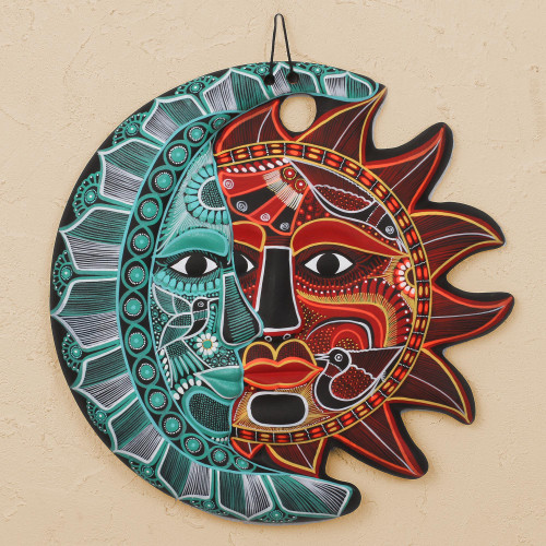 HandPainted Ceramic Eclipse Wall Art in Emerald and Red 'Cultural Eclipse'
