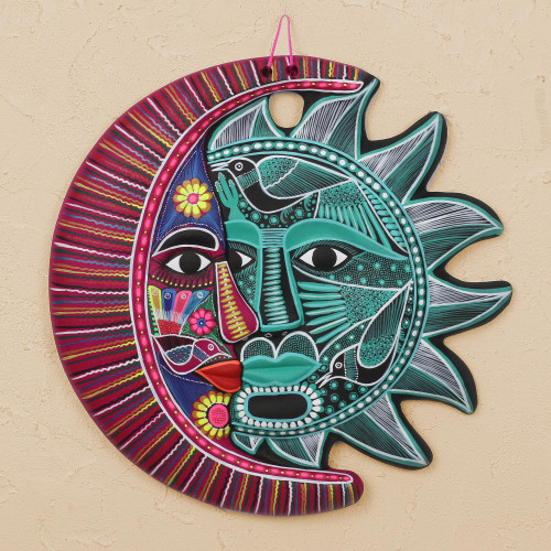 HandPainted Ceramic Eclipse Wall Art in Jade and Mulberry 'Intricate Eclipse'
