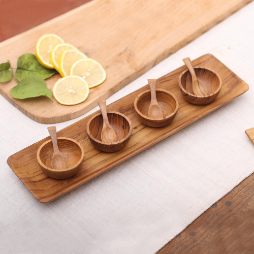 Natural Teakwood Condiment Set from Bali 9 piece 'Natural Island Flavors'