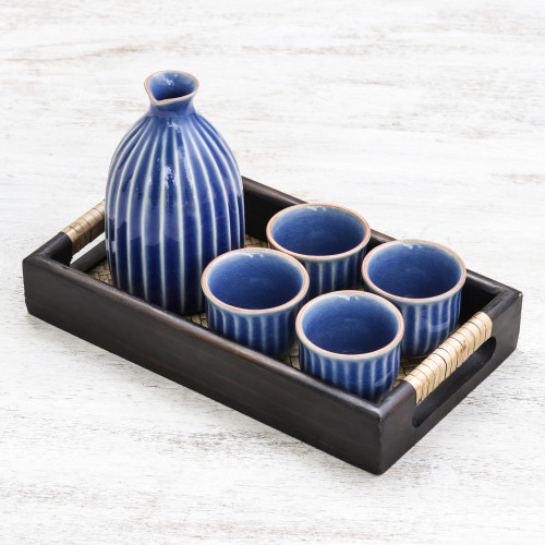 Blue Ceramic Decanter and Cups with Wood Tray Set for 4 'Ridges'
