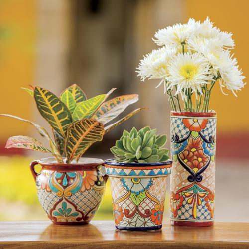 Talavera Style Russet Rim Floral Ceramic Flowerpot Urn 'Sunlit Stroll'