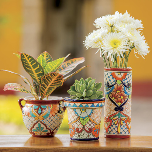 Colorful Talavera Style Floral Motif Ceramic Flower Pot 'Garden Fiesta'