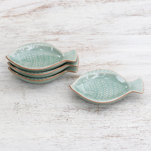 Handcrafted Celadon Ceramic Fish Appetizer Dishes Set of 4 'Spotted Swimmers'