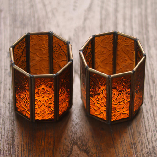 Glass and Brass Candle Holders in Brown from Java Pair 'Malioboro Glow'