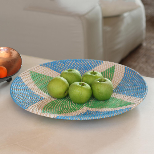Bamboo and Plastic Tray in Green and Blue from Bali 'Four Leaves'