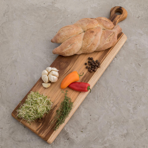 Handmade Teakwood Cutting Board from Guatemala 20 in. 'Morning Baguette'