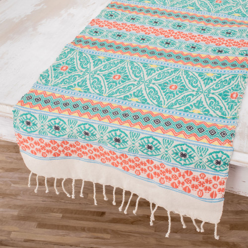 Handwoven Cotton Table Runner in Turquoise from Guatemala 'Guatemala is Family'