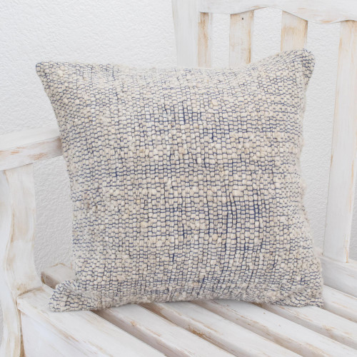 Handwoven Wool Blend Cushion Cover in Cornflower and White 'Sky Bliss'