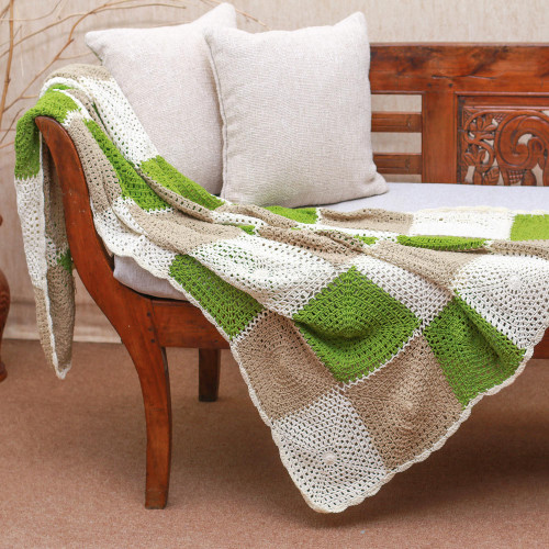 Square Pattern Crocheted Cotton Throw Blanket 'Square Petals'