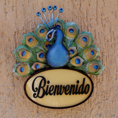 Blue Peacock Steel and Wood Welcome Sign from Mexico 'Bienvenido Peacock'