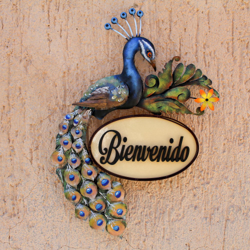 Steel and Wood Peacock Welcome Sign from Mexico 'Welcoming Bird'