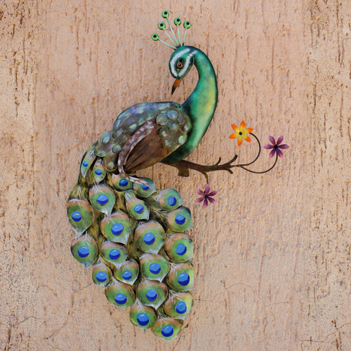 Artisan Crafted Steel Peacock Wall Sculpture from Mexico 'Flaunting Peacock'