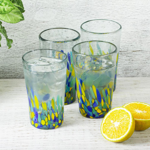 Colorful Recycled Glass Tumblers 16 Oz., Set of 6 'Tropical Confetti'