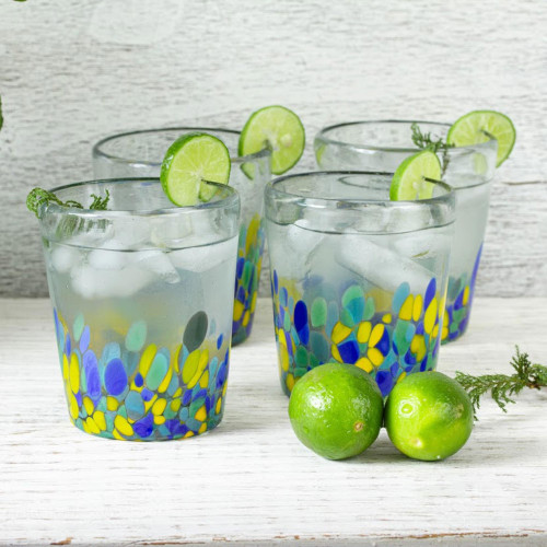 Colorful Recycled Glass Rocks Glasses 11 Oz., Set of 6 'Tropical Confetti'