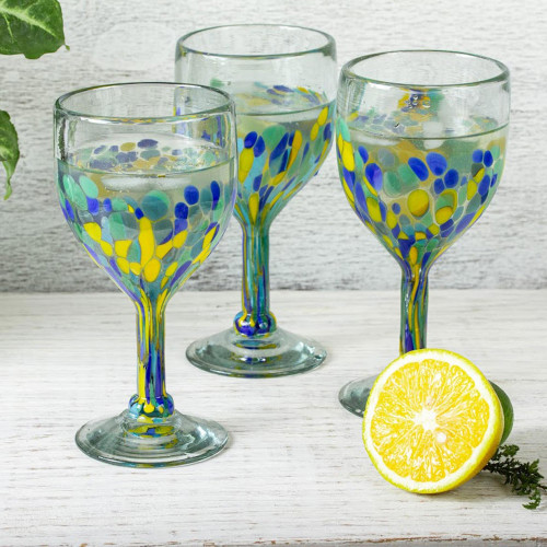 Colorful Recycled Wine Glasses from Mexico Set of 6 'Tropical Confetti'