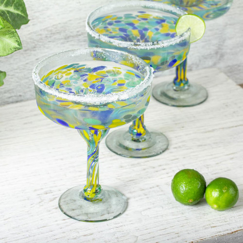 Colorful Recycled Glass Margarita Glasses Set of 6 'Tropical Confetti'