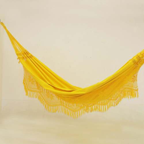 Handwoven Maize Yellow Cotton Hammock from Brazil Double 'Tropical Yellow'